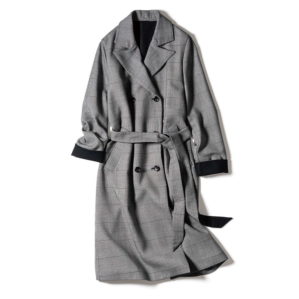 「NIKKE」 マフ グレンチェック 二重織り 一重仕立て コート
