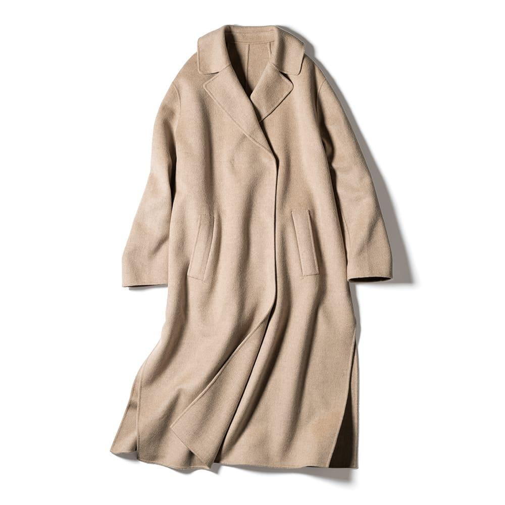 カシミヤ混 ダブルフェイス 一重仕立て コート
