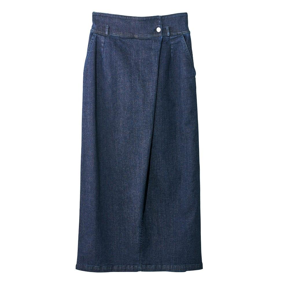 ストレッチデニム ラップ風 スカート