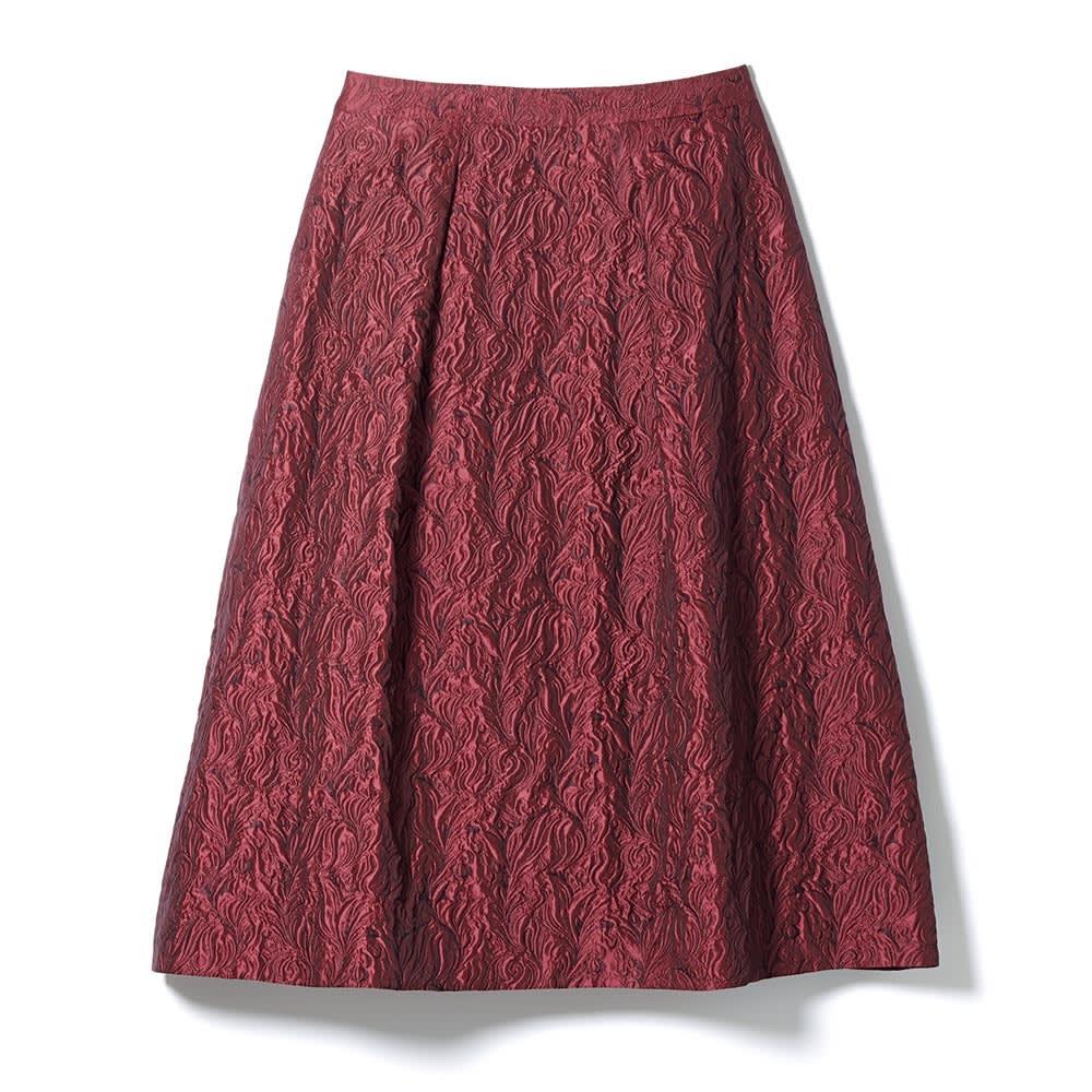 イタリア素材 リーフ柄ジャカード スカート