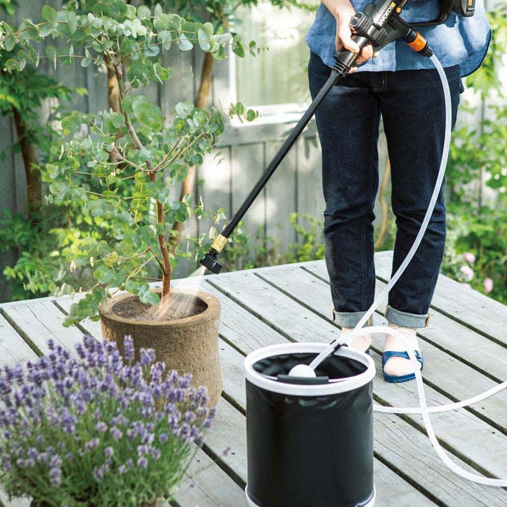 水栓柱不要でどこでも使用OK!充電式水圧洗浄&散水機