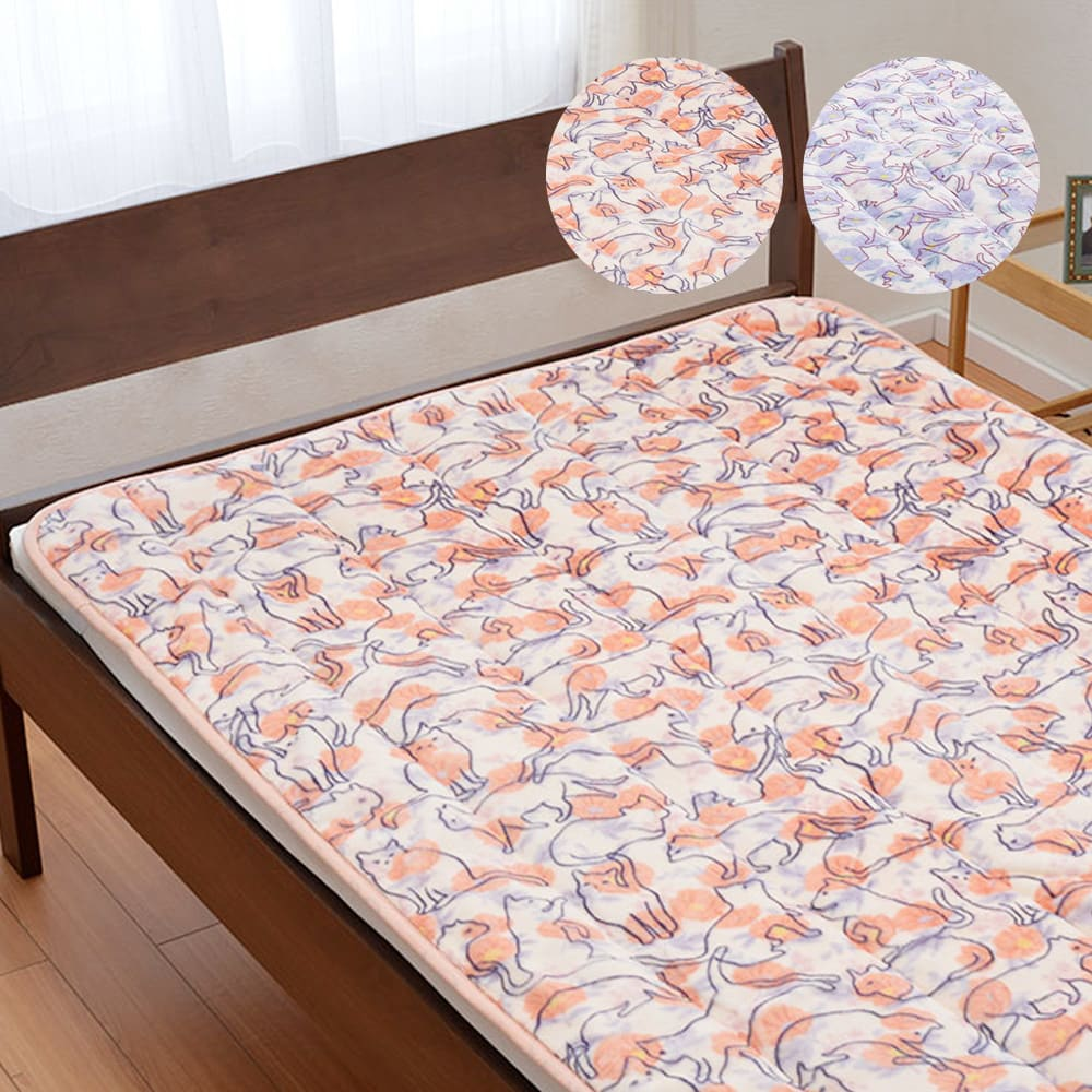 京都西川 ネコいっぱいの敷きパッド