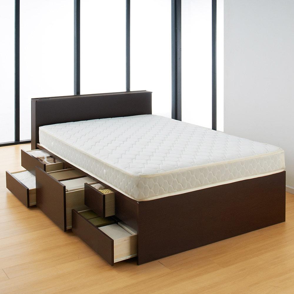 【ダブル】間仕切り収納ベッド