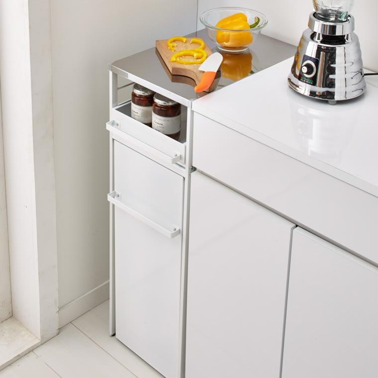 わずかな隙間に収まる ダストワゴン 付き すき間 キッチンラック ロータイプ 高さ85cm 幅30cm