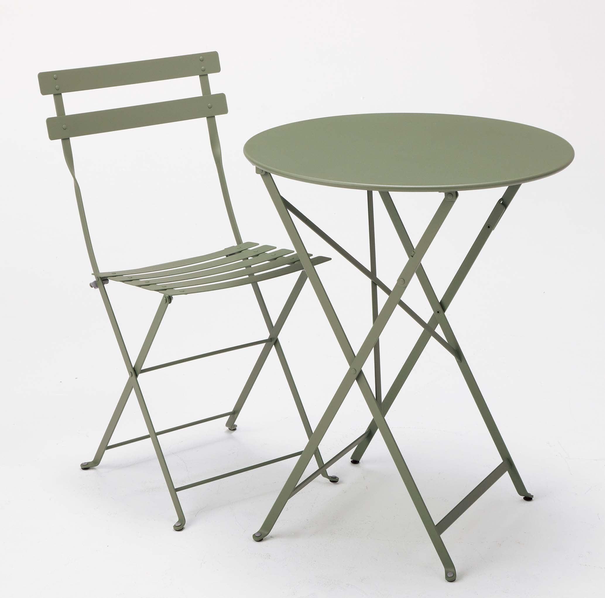 フランス・フェルモブ社製ビストロ  テーブル&メタルチェア2脚 同色セット