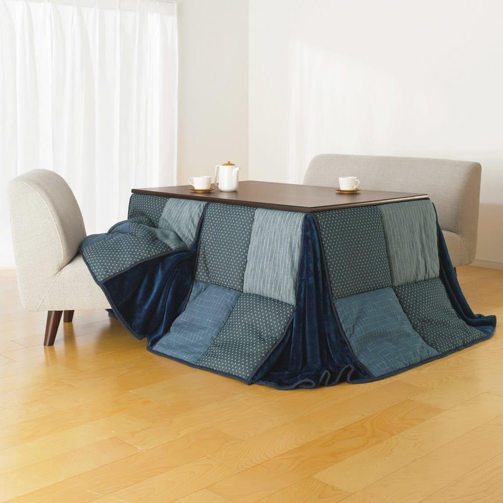 【5長方形・特大】235×295cm はっ水しじら織りパッチワーク ハイ