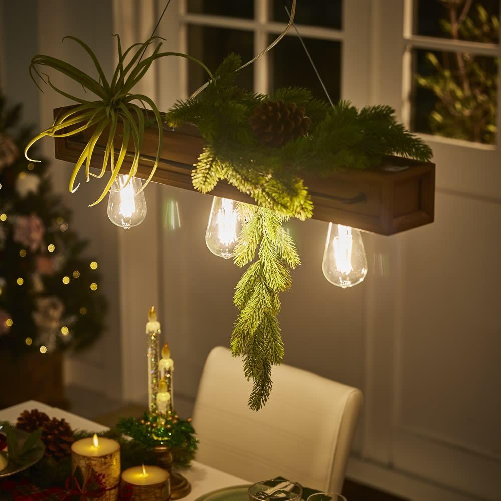 木製カフェ風ペンダントライト 3灯