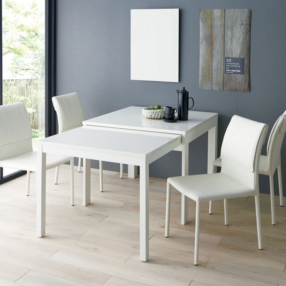 Boom ブーム 日本製UV塗装スライディングテーブル 正方形ダイニングテーブル