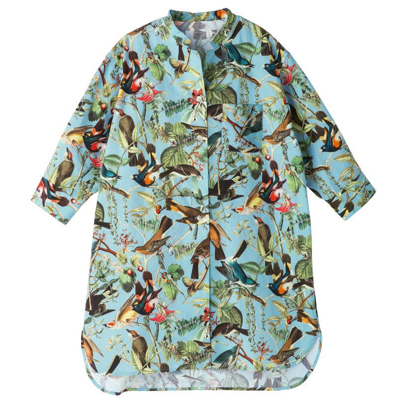 イタリア製生地 コットンバード柄プリント チビスタンドカラーチュニックシャツ