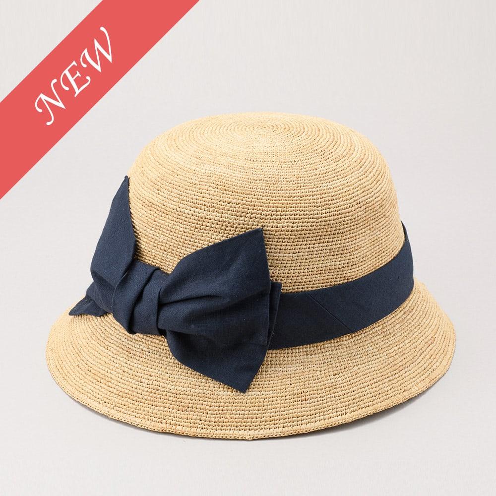 田中帽子店/ラフィア子供用 前リボン女優帽  ミーナ UK-H011MI