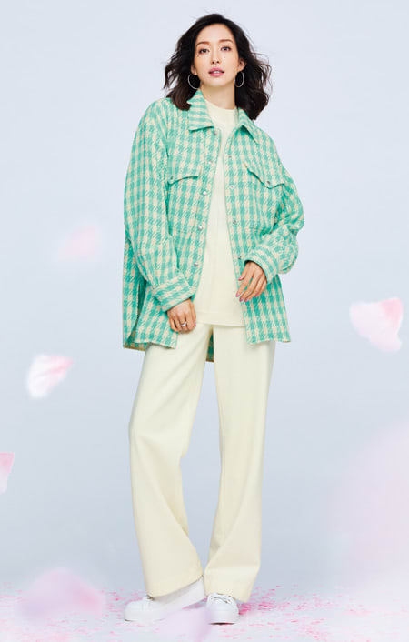 イタリア素材 オーバーサイズ ツイード シャツジャケット