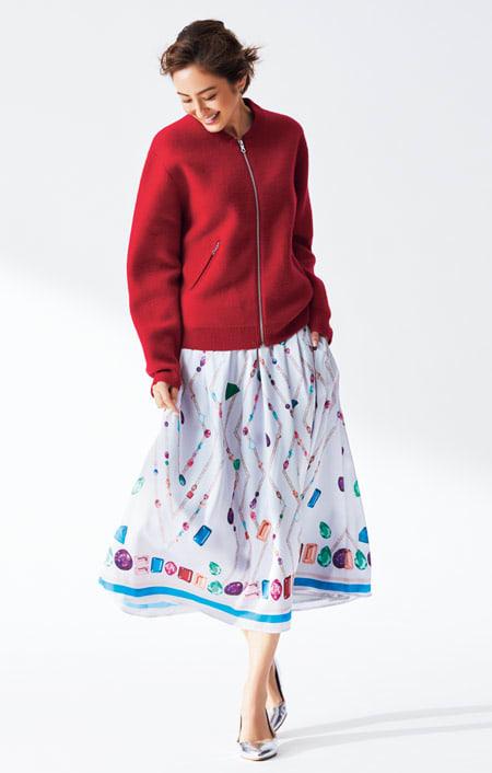 宝石柄 フレアースカート