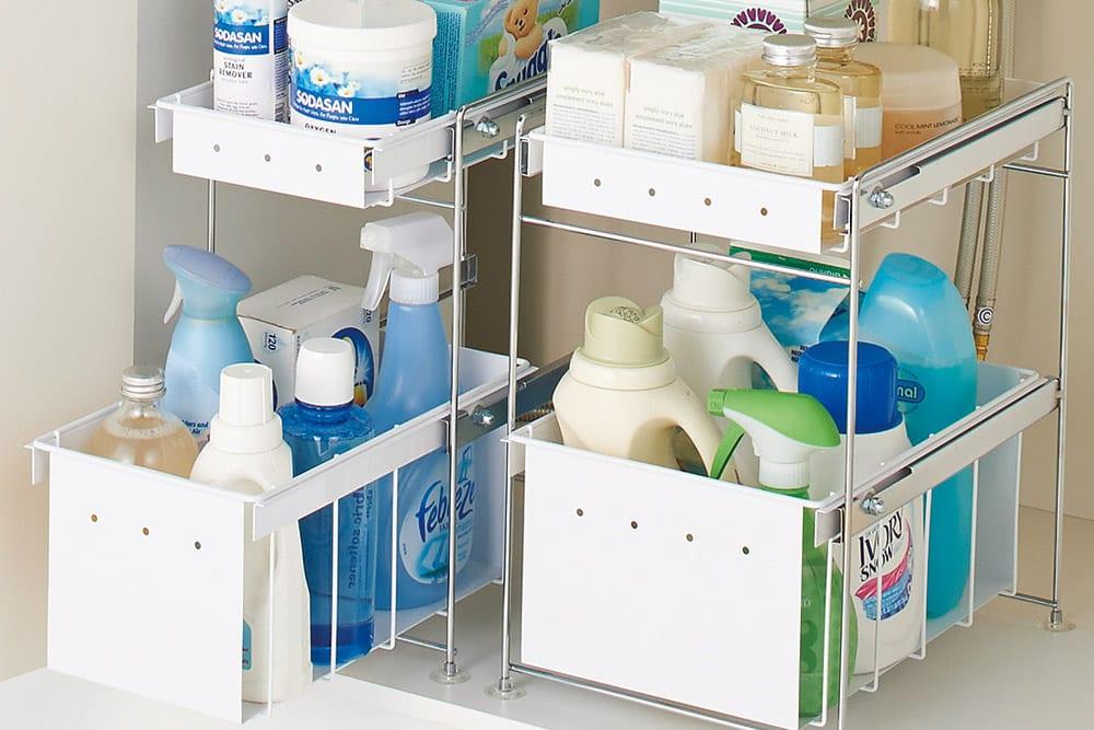 洗濯機ラック、洗面台下などのサニタリー(水回り)収納のアイデア