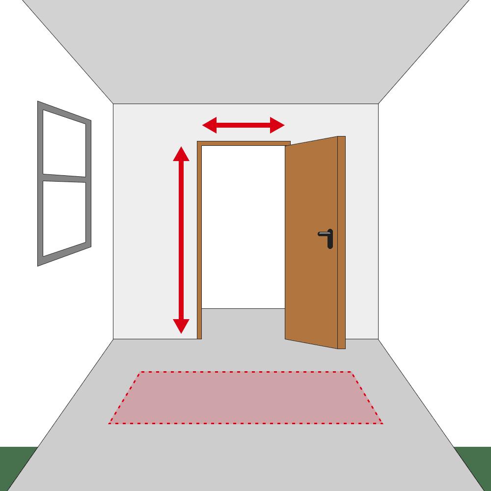 お部屋のドアサイズ、開閉向き、作業スペースの有無を確認