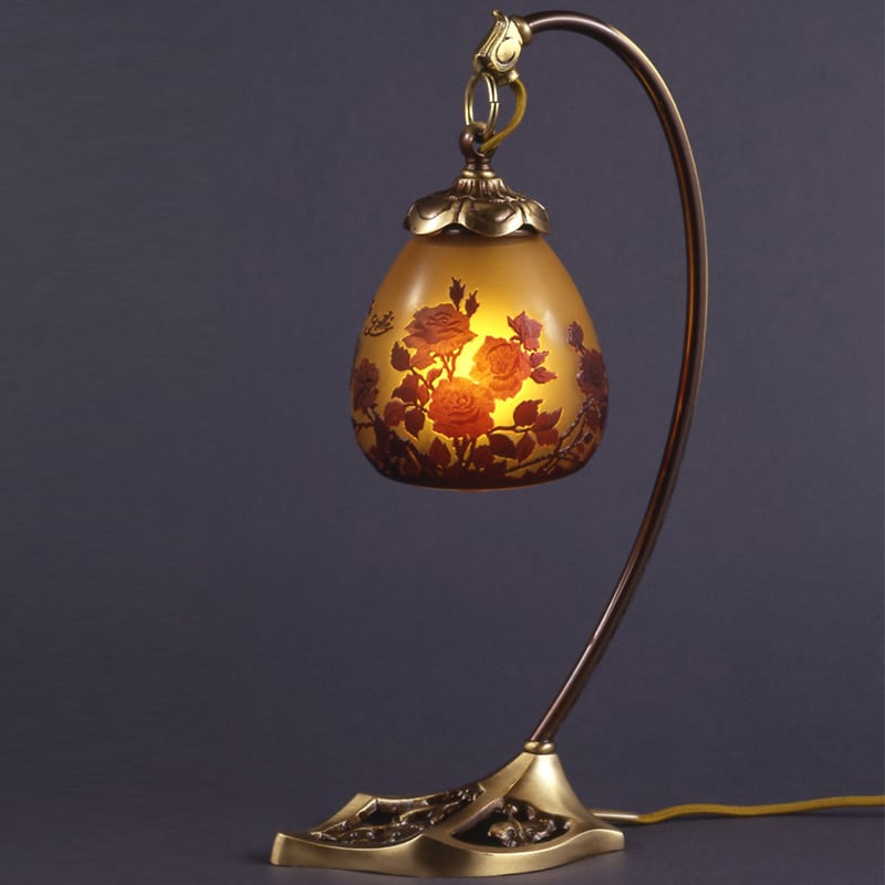 ガレコレクション1灯テーブルスタンドAGL-0251AB-バラ柄シェード