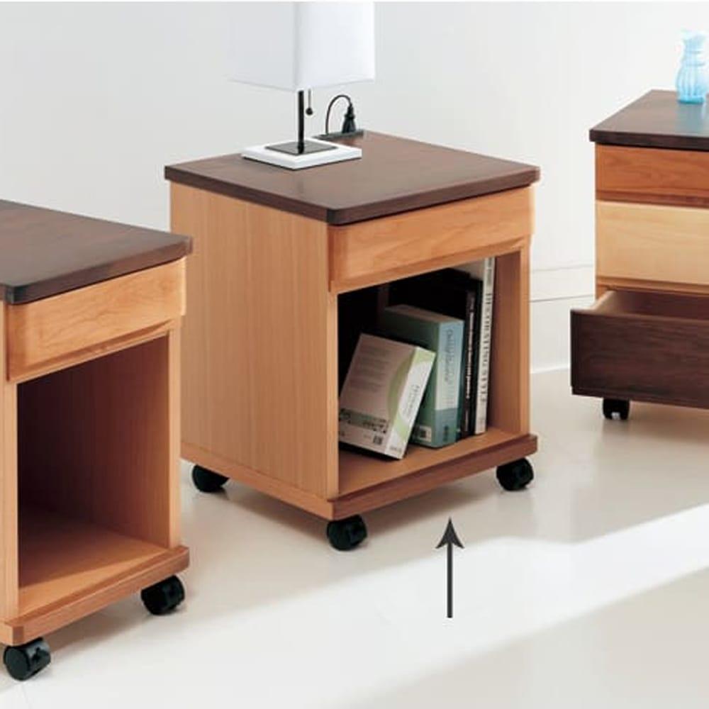 アルダー材ベッドサイドナイトテーブル 幅40cm 引き出し1杯タイプ