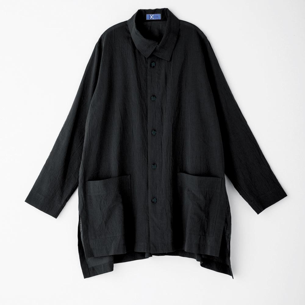 bx/ビーエクス ペーパーコットン 重ね襟ビッグシャツ 【大きいサイズ L・LL・3L・4L】