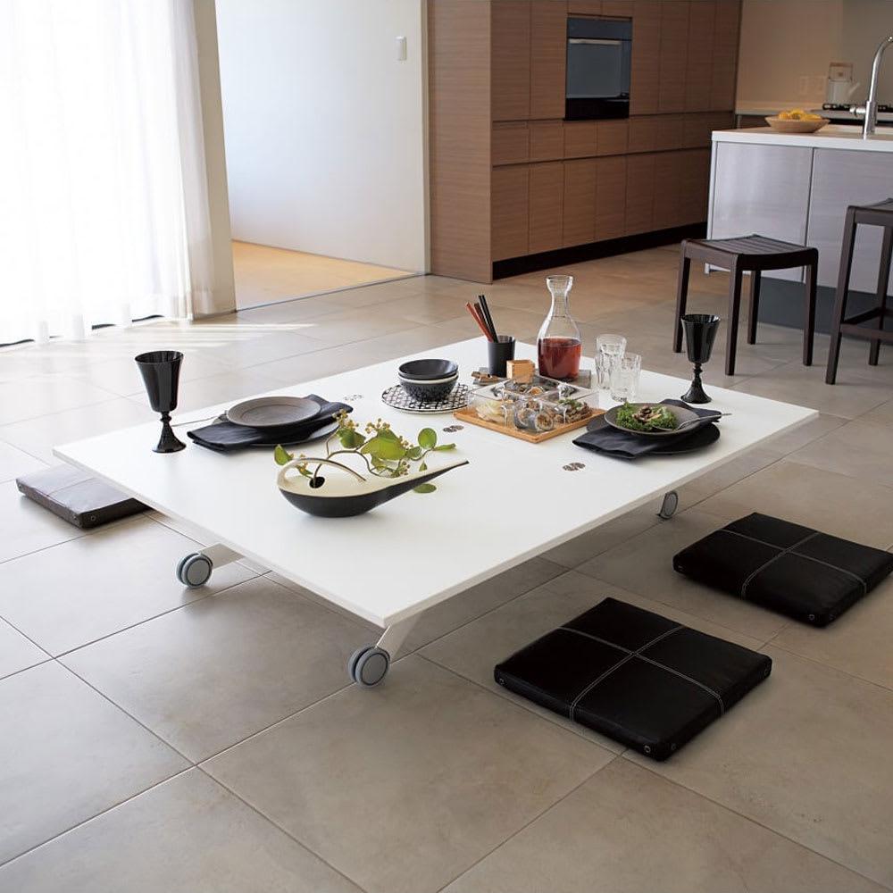Lift-Up リフトアップ イタリア製昇降エクステンションテーブル[昇降式・伸長式・キャスター付き]