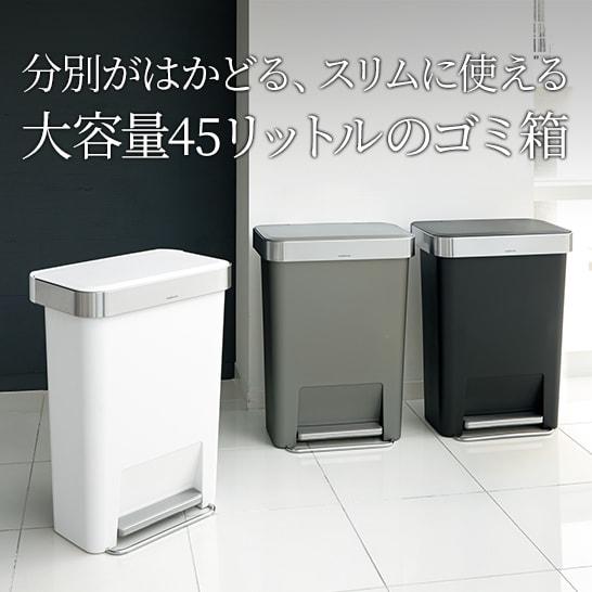 分別がはかどる、スリムに使える。大容量45リットルのゴミ箱がおすすめ。