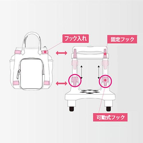 簡単にバッグが着脱できるオリジナル背面フック