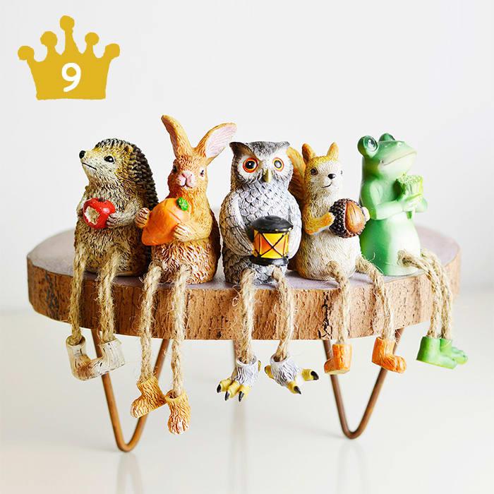 大人気のアニマルオブジェ 足ブラセット|フクロウ、リス、ハリネズミ、ウサギ、カエル