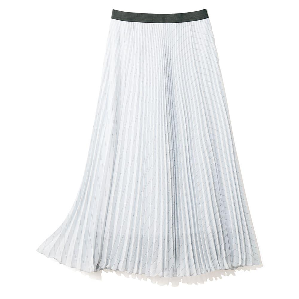 ピンドットストライプ柄 プリーツ スカート