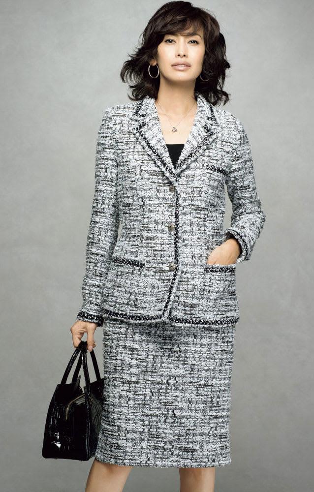 マリア・ケント社 ファンシーツイード スーツセット(ジャケット+スカート)