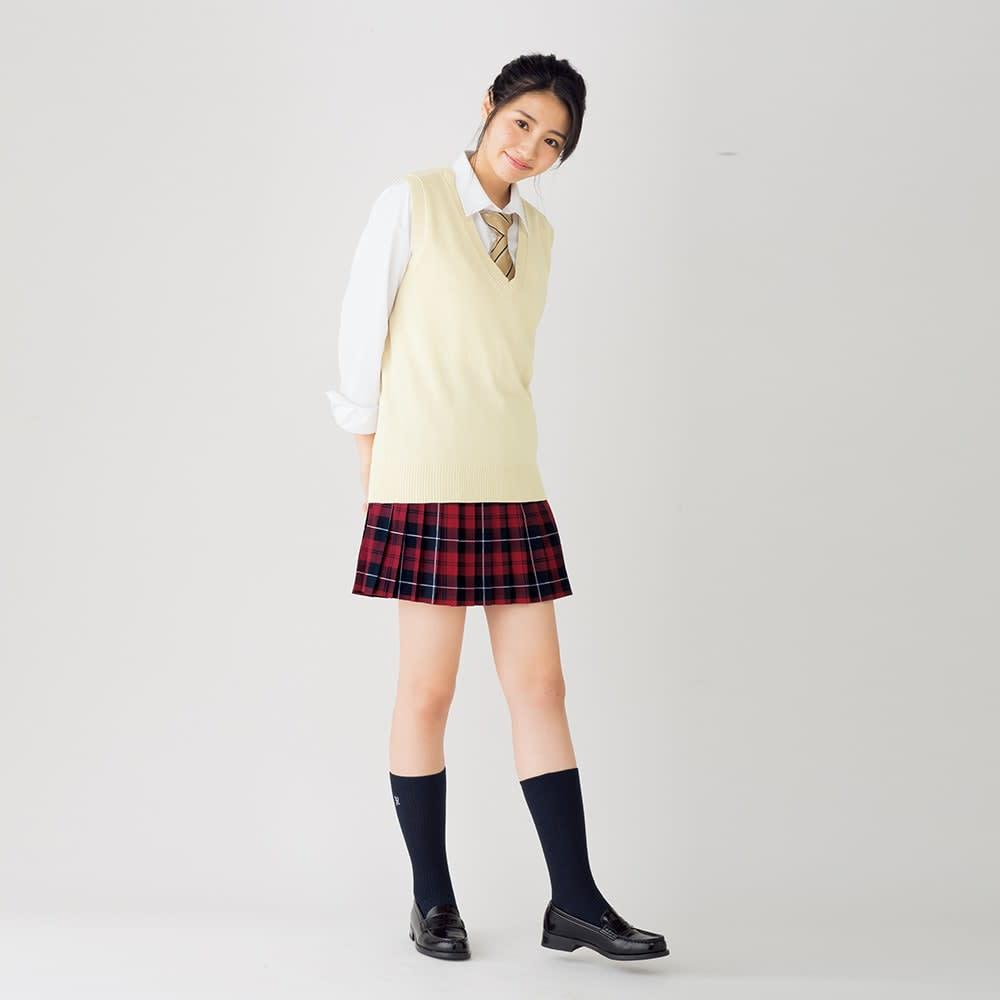 スカートベルト付き ウエストゴムチェック柄 プリーツスカート