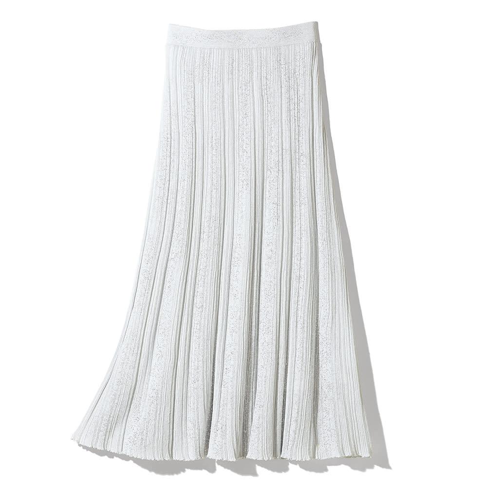 イタリア糸 リネン混 ランダムガーターニット スカート