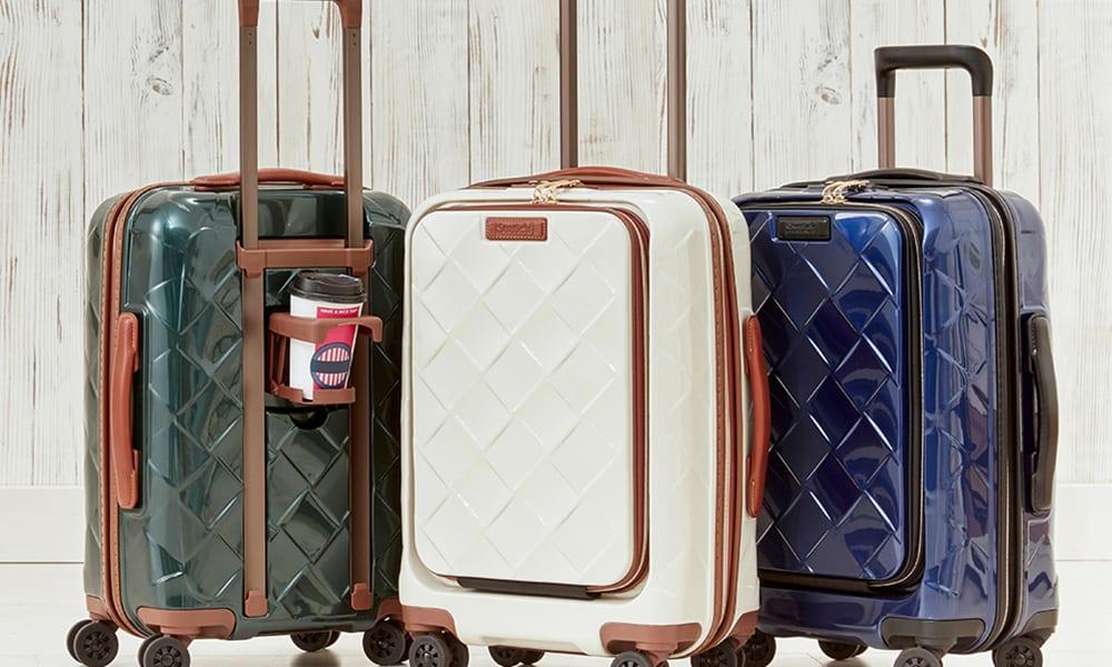 Stratic(ストラティック)/ 「Leather&More(レザー&モア)」フロントオープンスーツケース ドリンクホルダー付き 機内持込 4輪 33L 3.30kg|キャリーケース・スーツケース
