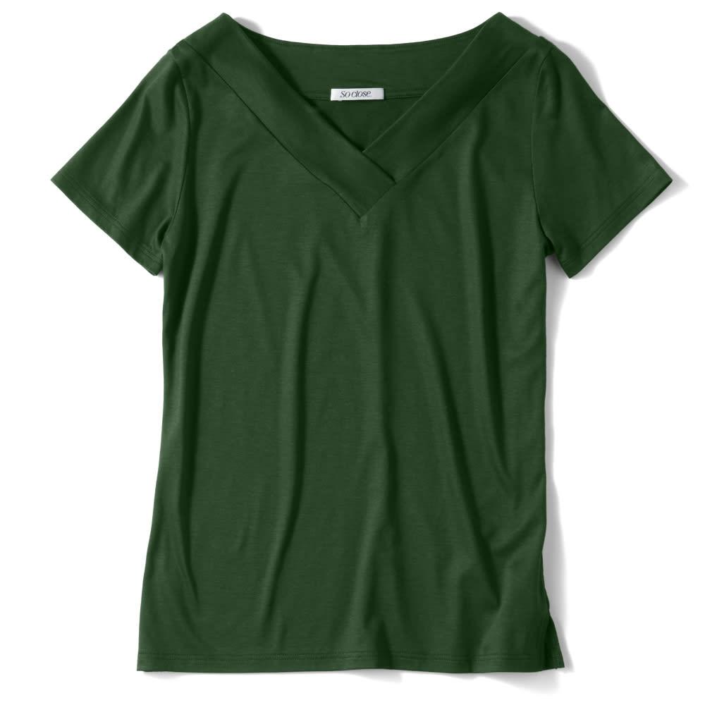 新美デコルテ(R) シリーズ 合わせV開き半袖Tシャツ