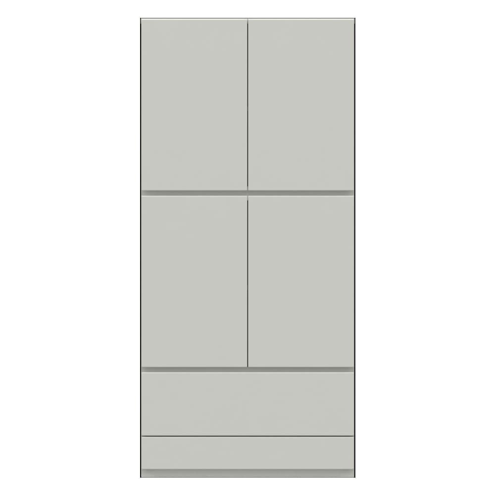 【パモウナ社製】使いやすさを考えた美しいシステム収納 扉+引き出し収納庫 幅80cm