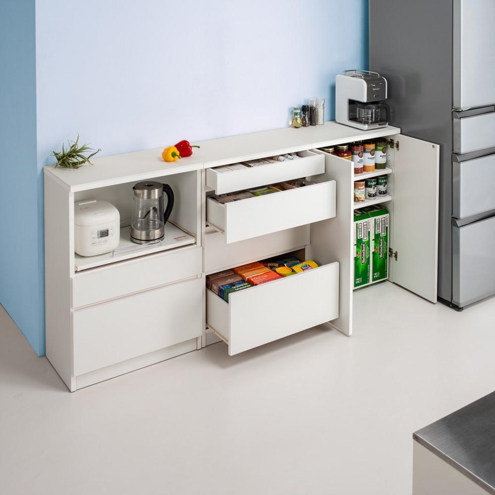 清潔に安心して使える 組み合わせ自在の薄型人工大理石天板カウンター 扉タイプ幅60cm