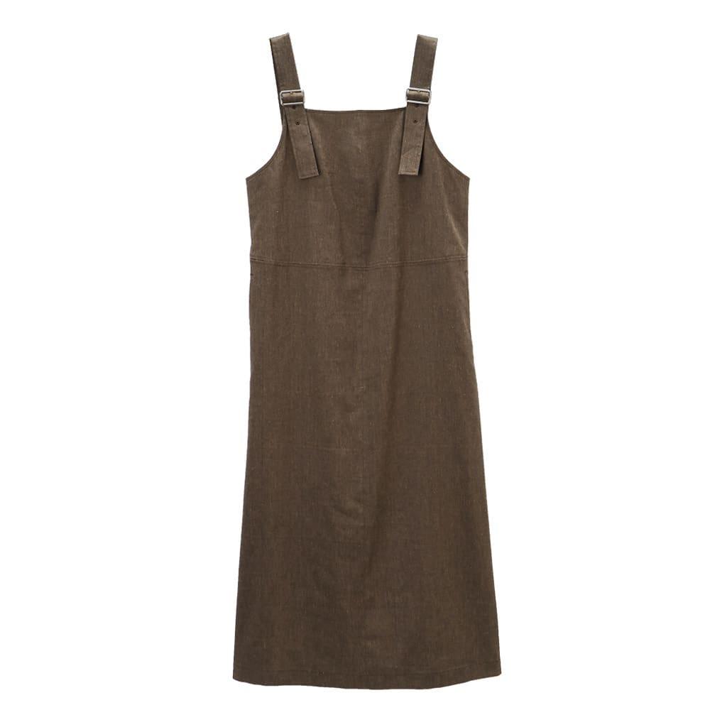 (予約) 綿麻 シャンブレー ツイル ジャンパースカート