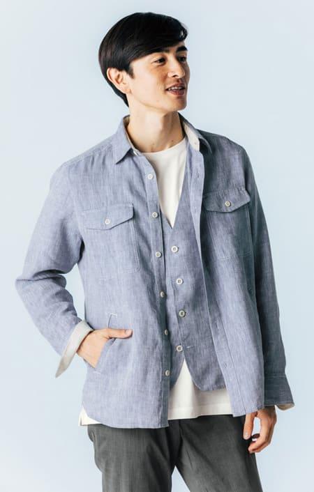 リネンサマートラベルシャツ ジャケット