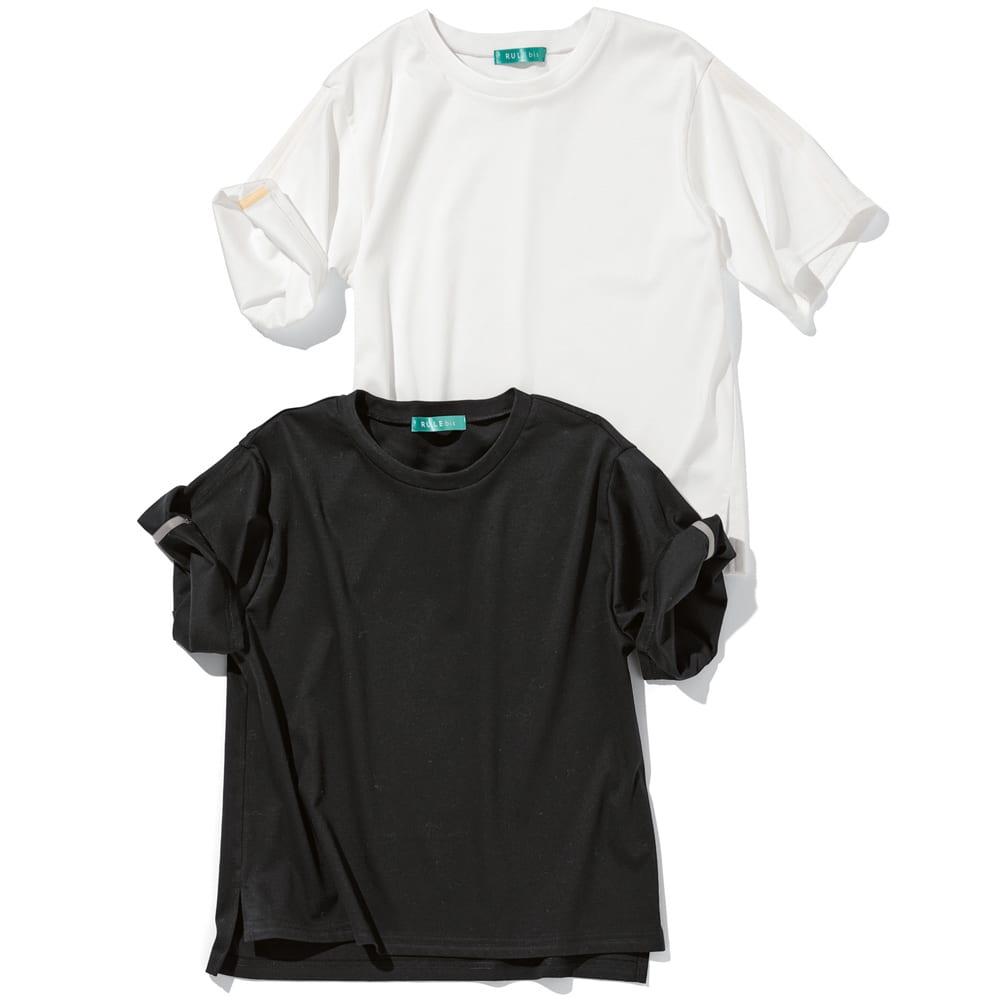 そでワイヤー ロールアップTシャツ
