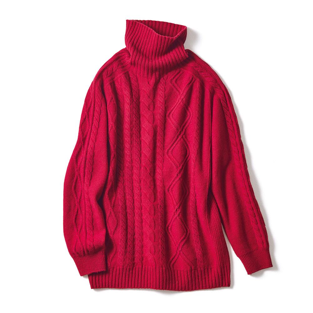 ホールガーメント カシミヤ 柄編み タートルネック プルオーバー