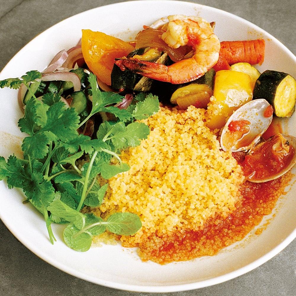 #03 無水鍋で作る肉と魚介と野菜のクスクス