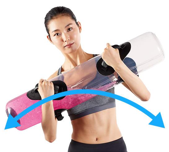 <span class=b fs18>サイドフレクション1</span><br />胸の前で抱えて左右に傾けます。水の動きで身体がブレないように。脇腹の筋肉に効果的です。