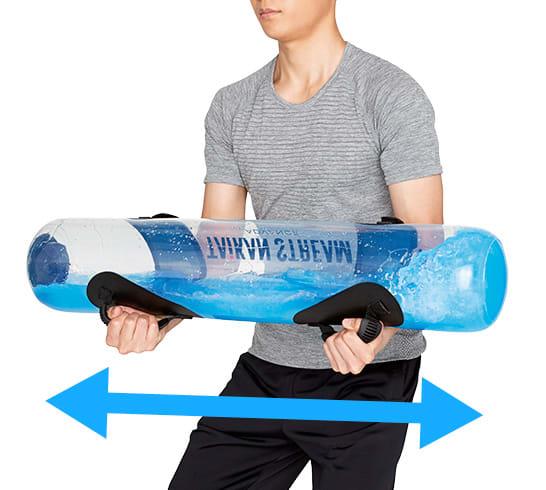 <span class=b fs18>バイブレイド</span><br />腰の前で抱えて、約20秒間連続して小刻みに揺すります。上半身の筋肉を刺激します。
