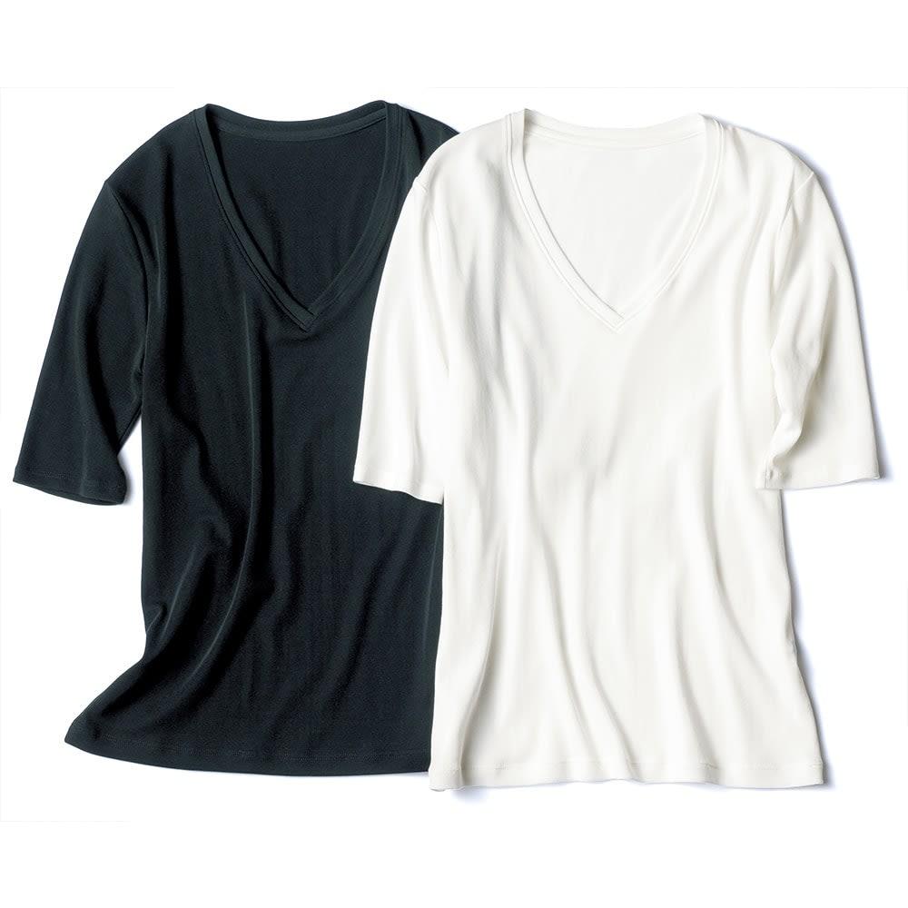 新美デコルテ(R) 合わせ細V開き 半袖Tシャツ