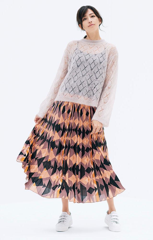 THE COLLECTION/ザ コレクション 幾何学プリント プリーツスカート