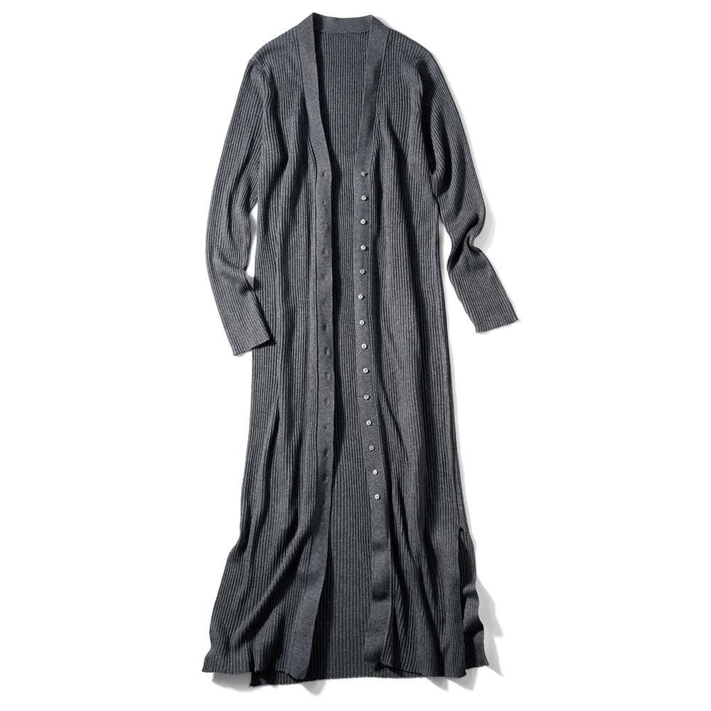 シルクカシミヤ リブ編み ロングカーディガン