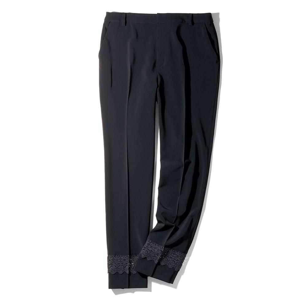 【股下丈55cm】 裾レース使い センタープレス入り シガレットパンツ