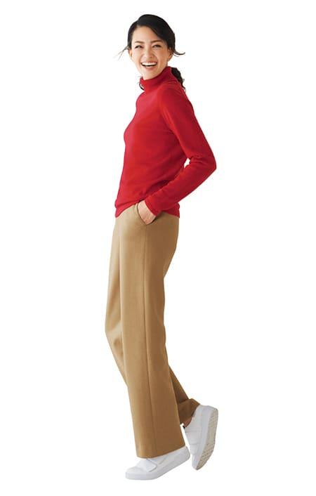 【股下丈68cm】 強圧縮ウール素材 セミワイドパンツ