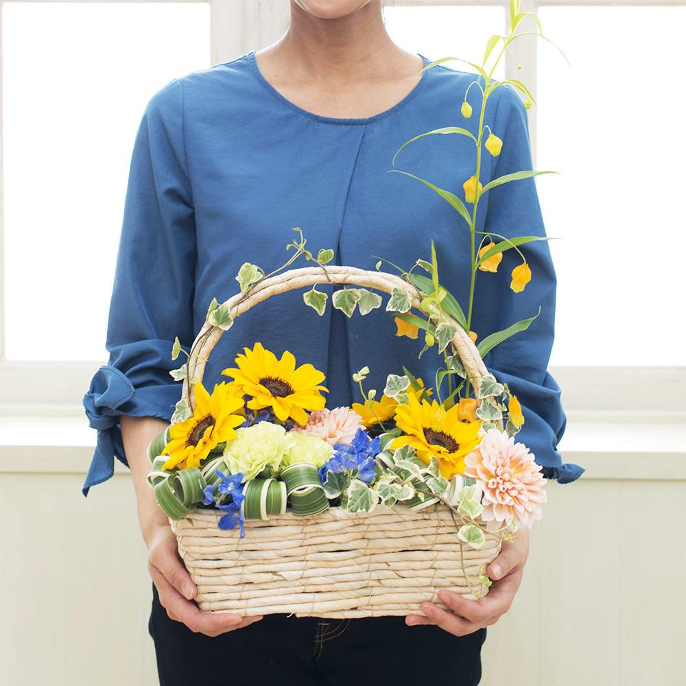 野田 誠オリジナルアレンジメント<br>「Sunflower Basket」  <br>5,940円(税込)
