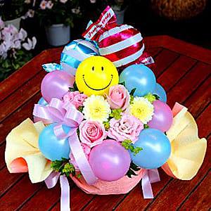フラワー&バルーン「スマイル・キャンディL」P/B<br>8,800円(税込)