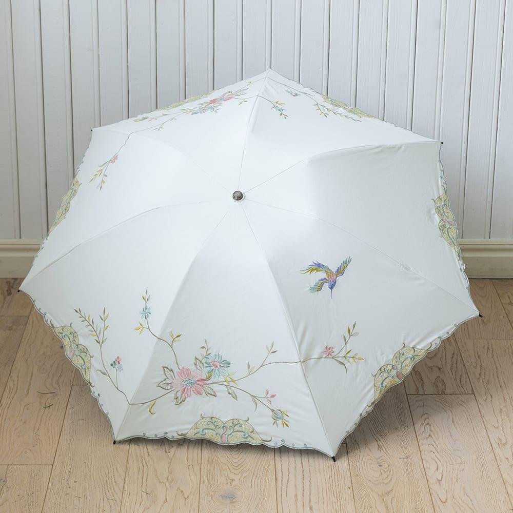 ミニ折り畳み日傘 花鳥刺繍 晴雨兼用二重張り<br> 6,930円(税込)