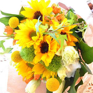 キュートなブーケ SummerMemory (ヒマワリの花束)イエローオレンジ系<br>4,400円(税込)
