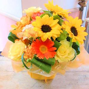 ★ひまわり★黄色オレンジ系おまかせアレンジ花<br>4400円(税込)